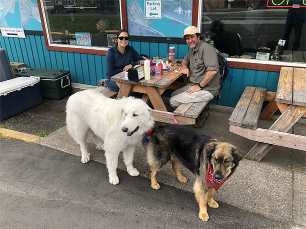 A Couple With Their Two Dogs at Our Yachats Oregon Restaurant